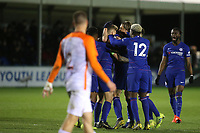 Chelsea players congratulate Luke McCormick after scoring their second goal during Chelsea Under-19 vs Montpellier HSC Under-19, UEFA Youth League Football at the Cobham Training Ground on 13th March 2019