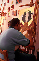 Greece. Crete. An Icon Painter in Rethymnon