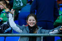 2nd February 2020; Energia Park, Dublin, Leinster, Ireland; International Womens Rugby, Six Nations, Ireland versus Scotland; Young Irish supporter with face paint waving a banner