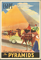 BNPS.co.uk (01202 558833)<br /> Pic: SwannGalleries/BNPS<br /> <br /> ***Please Use Full Byline***<br /> <br /> Pyramids in Egypt 1957 - &pound;1900<br /> <br /> Beautiful posters from the halcyon days of travel up for auction.<br /> <br /> Scarce vintage travel posters promoting holidays across the globe in the 1920's and 30's are tipped to sell for over &pound;200,000 .<br /> <br /> The fine collection of 200 works of art that hark back to the halcyon days of train and boat travel have been brought together for sale.<br /> <br /> The posters were used to advertise dream holiday destinations in far-flung places such as the US and Australia and to celebrate the luxurious ways of getting to them.<br /> <br /> Most of the advertising posters date back to the 1930s and are Art Deco in style and they are all from the original print-run.