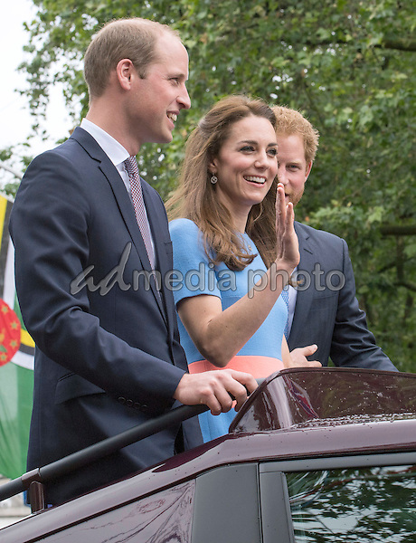 12 June 2016 - London, England - Prince William and Kate Duchess of Cambridge with Prince Harry. The Patrons Lunch 2016 during celebrations for the Queens 90th Birthday held at The Mall London. Photo Credit: ALPR/AdMedia