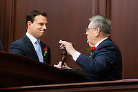 TALLAHASSEE, FLA. 3/4/14-House Speaker Will Weatherford, R-Wesley Chapel, left, hands the gavel to Senate President Don Gaetz, R-Niceville, as they start the joint session of the legislature during the opening day of the legislative session, March 4, 2014 at the Capitol in Tallahassee.<br /> <br /> COLIN HACKLEY PHOTO