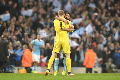 12.04.2016. manchester, England. UEFA Champions league, quarterfinals, second leg. Manchester City versus Paris St Germain.  GAEL CLICHY (man) celebrates the win with keeper Joe Hart