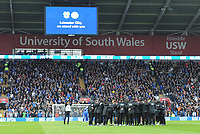 Leicester City players and staff huddled before kickoff<br /> <br /> Photographer Kevin Barnes/CameraSport<br /> <br /> The Premier League -  Cardiff City v Leicester City - Saturday 3rd November 2018 - Cardiff City Stadium - Cardiff<br /> <br /> World Copyright © 2018 CameraSport. All rights reserved. 43 Linden Ave. Countesthorpe. Leicester. England. LE8 5PG - Tel: +44 (0) 116 277 4147 - admin@camerasport.com - www.camerasport.com