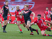10th February 2019, AJ Bell Stadium, Salford, England; Betfred Super League rugby, Salford Red Devils versus London Broncos; James Cunningham of London Broncos tries to clear his lines