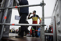 Wout Van Aert (BEL/Crelan-Vastgoedservice) getting onto the podium<br /> <br /> Grand Prix Adrie van der Poel, Hoogerheide 2016<br /> UCI CX World Cup