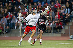 Torrance, CA 05/08/13 - Clay Davis (Harvard Westlake #38) and Brooks Hawkins (Palos Verdes #22) in action during the Harvard Westlake vs Palos Verdes Los Angeles area Lacrosse Championship game.  Harvard Westlake defeated Palos Verdes 9-7.