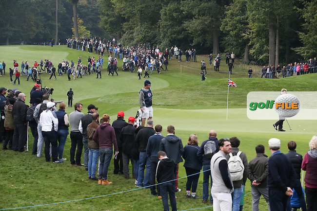 View of the 3rd green during the Final Round of the British Masters 2015 supported by SkySports played on the Marquess Course at Woburn Golf Club, Little Brickhill, Milton Keynes, England.  11/10/2015. Picture: Golffile | David Lloyd<br /> <br /> All photos usage must carry mandatory copyright credit (&copy; Golffile | David Lloyd)