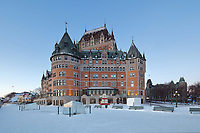 Chateau Frontenac, opened 1893, designed by Bruce Price as a chateau style hotel for the Canadian Pacific Railway company or CPR, in Quebec City, Quebec, Canada. The building was extended and the central tower added in 1924, by William Sutherland Maxwell. The building is now a hotel, the Fairmont Le Chateau Frontenac, and is listed as a National Historic Site of Canada. The Historic District of Old Quebec is listed as a UNESCO World Heritage Site. Picture by Manuel Cohen