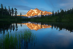 Mount Baker-Snopqualmie National Forest, Washington:<br /> Mount Shuksan reflecting on Picture Lake at dusk