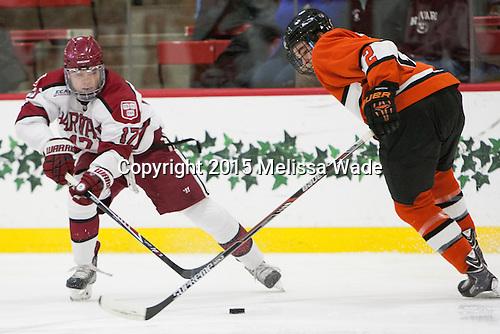Sean Malone (Harvard - 17), Marlon Sabo (Princeton - 2) - The Harvard University Crimson defeated the visiting Princeton University Tigers 5-0 on Harvard's senior night on Saturday, February 28, 2015, at Bright-Landry Hockey Center in Boston, Massachusetts.