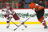 Sean Malone (Harvard - 17), Marlon Sabo (Princeton - 2) - The Harvard University Crimson defeated the visiting Princeton University Tigers 5-0 on Harvard's senior night on Saturday, February 28, 2015, at Bright-Landry Hockey Center in Boston, Massachusetts.