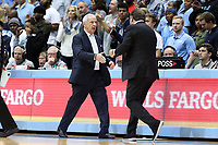 CHAPEL HILL, NC - NOVEMBER 06: Head Coach Roy Williams of the University of North Carolina shakes hands with head coach Mike Brey of the University of Notre Dame during a game between Notre Dame and North Carolina at Dean E. Smith Center on November 06, 2019 in Chapel Hill, North Carolina.