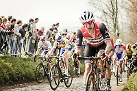 Jasper Stuyven (BEL/Trek Segafredo) up the  Koppenberg, cobbles<br /> <br /> 103rd Ronde van Vlaanderen 2019<br /> One day race from Antwerp to Oudenaarde (BEL/270km)<br /> <br /> ©kramon