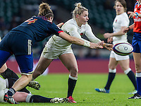 Natasha Hunt in action, England Women v France Women in a 6 Nations match at Twickenham Stadium, London, England, on 4th February 2017 Final Score 26-13.