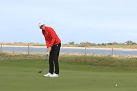 Gaelen Trew from Wales on the 3rd green during Round 2 Singles of the Men's Home Internationals 2018 at Conwy Golf Club, Conwy, Wales on Thursday 13th September 2018.<br /> Picture: Thos Caffrey / Golffile<br /> <br /> All photo usage must carry mandatory copyright credit (&copy; Golffile | Thos Caffrey)