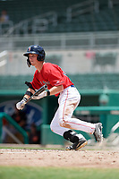 GCL Red Sox center fielder Caleb Ramsey (39) squares around to bunt during a game against the GCL Orioles on August 9, 2018 at JetBlue Park in Fort Myers, Florida.  GCL Red Sox defeated GCL Orioles 10-4.  (Mike Janes/Four Seam Images)