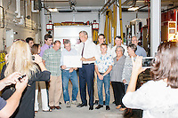 Former New York governor and Republican presidential candidate George Pataki poses for a picture with members of the New Hampshire CleanTech Council at the Hopkinton NH Fire Station in Contoocook, Hopkinton, New Hampshire. The NH CleanTech Council advocates and represents New Hampshire clean technology and energy business sector.The fire station had recently installed a clean-burning wood pellet boiler of European design. Duing the meeting, Pataki said he hoped the next generations of these sorts of boilers and furnaces would be manufactured in the US.