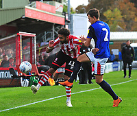 Lincoln City's Bruno Andrade vies for possession with Crewe Alexandra's Perry Ng<br /> <br /> Photographer Andrew Vaughan/CameraSport<br /> <br /> The EFL Sky Bet League Two - Lincoln City v Crewe Alexandra - Saturday 6th October 2018 - Sincil Bank - Lincoln<br /> <br /> World Copyright &copy; 2018 CameraSport. All rights reserved. 43 Linden Ave. Countesthorpe. Leicester. England. LE8 5PG - Tel: +44 (0) 116 277 4147 - admin@camerasport.com - www.camerasport.com