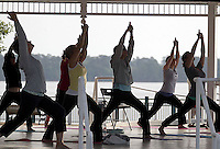 The Yoga and Pilates Infusion class performs the Cresent Moon at their Tuesday and Thursday morning sessions at the Union Point Gazebo, presenting by New Bern Parks and Recreation and Green Bear Fitness.
