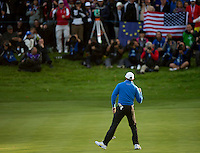 26.09.2014. Gleneagles, Auchterarder, Perthshire, Scotland.  The Ryder Cup, Day 1.  Rory McIlroy (EUR) holes a birdie putt on the 17th green to take them one under with one to play during the Friday Foursomes.