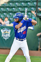 Cody Thomas (46) of the Ogden Raptors at bat against the Grand Junction Rockies in Pioneer League action at Lindquist Field on August 26, 2016 in Ogden, Utah. The Raptors defeated the Rockies 6-5. (Stephen Smith/Four Seam Images)