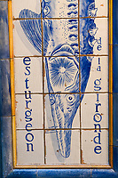 """Europe/France/Ile-de-France/75014/Paris: la """"Poissonnerie du Dôme"""" détail des Mosaïques réalisées en 1980 par Slavik- Esturgeon"""