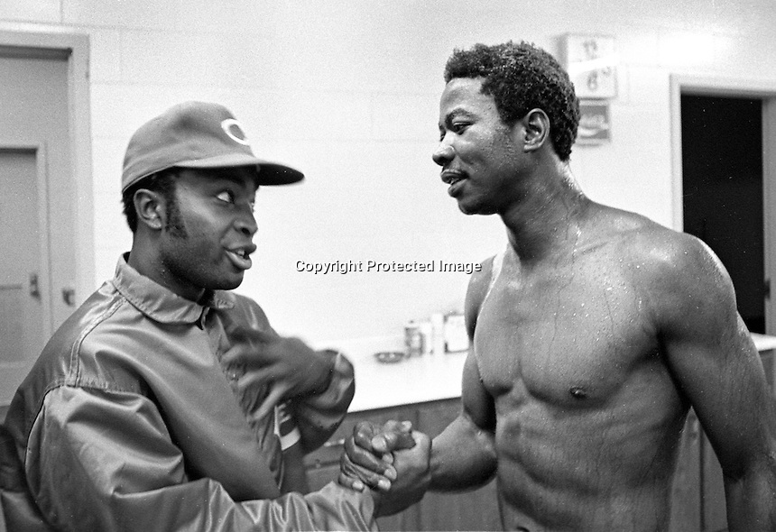 "Cincinnati Reds Joe Morgan congratulates Oakland Athletic winning pitcher John ""Blue Moon"" Odom after Odom and the A's beat the Reds in the 7th game to win the 1972 World Series."