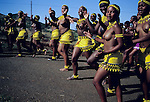 NONGOMA, SOUTH AFRICA - SEPTEMBER 11: Unidentified maidens in traditional clothing dance outside the Royal Palace during the annual Reed Dance on September 11, 2004 in Nongoma in rural Natal, South Africa. About 20.000 maidens from all over South Africa has arrived to dance for Zulu King Goodwill Zwelethini at the Enyokeni Royal Palace in Kwa-Nongoma about 350 kilometers from Durban. The girls come to the kingdom to declare their virginity and the ceremony encourages girls and young women to abstain from sexual activity to curb the spread of HIV-Aids. (Photo: Per-Anders Pettersson).....