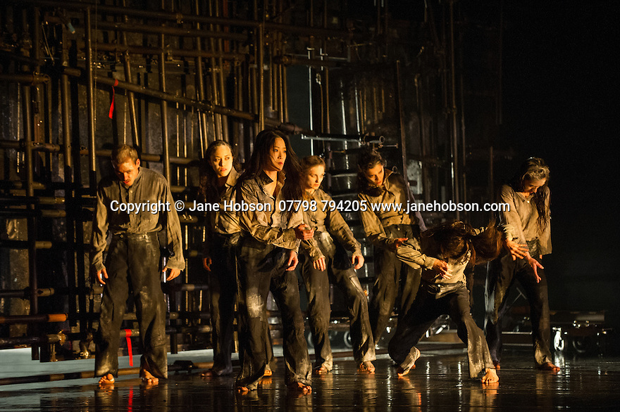 London, UK. 25.03.2014. Compagnie du Hanneton/ James Thierree presents the UK premiere of TABAC ROUGE at Sadler's Wells. Picture shows: The company. Photograph © Jane Hobson.