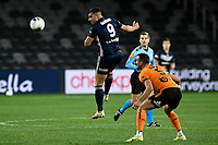 29th July 2020; Bankwest Stadium, Parramatta, New South Wales, Australia; A League Football, Melbourne Victory versus Brisbane Roar; Andrew Nabbout of Melbourne Victory flicks on a header ahead of Tom Aldred of Brisbane Roar