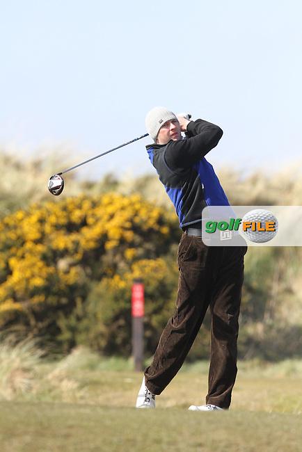 Robbie Cannon (Balbriggan) on the 7th tee during Round 2 of the West of Ireland Amateur Open Golf Championship 2013 at Co.Sligo Golf Club, Rosses Point, Co.Sligo. 30/03/2013...(Photo Jenny Matthews/www.golffile.ie)
