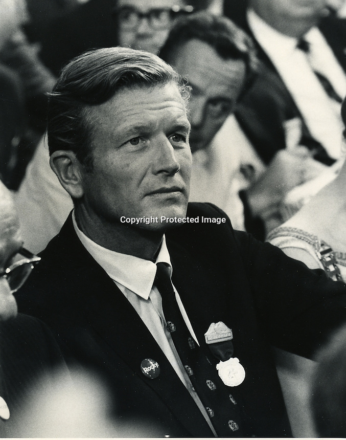 John Lindsay mayor of New York at the Republican convention in Miami. 1968. (photo by Ron Riesterer)