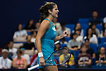 Julia Goerges of Germany celebrates winning a point during the singles Round Robin match of the WTA Elite Trophy Zhuhai 2017 against Kristina Mladenovic of France at Hengqin Tennis Center on November  03, 2017 in Zhuhai, China.  Photo by Yu Chun Christopher Wong / Power Sport Images
