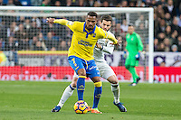 Prince Boateng of UD Las Palmas competes for the ball with Nacho Fernandez of Real Madrid  during the match of Spanish La Liga between Real Madrid and UD Las Palmas at  Santiago Bernabeu Stadium in Madrid, Spain. March 01, 2017. (ALTERPHOTOS / Rodrigo Jimenez) /NORTEPHOTOmex