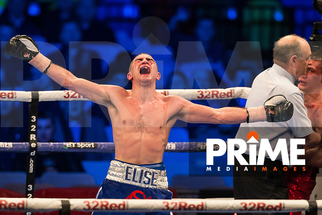 Johnny GARTON celebrates his win during THE VACANT IBF EUROPEAN WELTERWEIGHT CHAMPIONSHIP 12 X 3 Minute Rounds JOHNNY GARTON 10st 6lbs V MIHAIL ORLOV 10st 6lbs 8oz during the Boys are back in town - Frank Warren Boxing event at the Copper Box Arena, London, England on 9 December 2017. Photo by Andy Rowland.