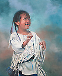 "A young and happy Sioux girl smiles while moving and playing in traditional fringed clothing, a Native American child portrait. Oil on canvas, 12"" x 10""."
