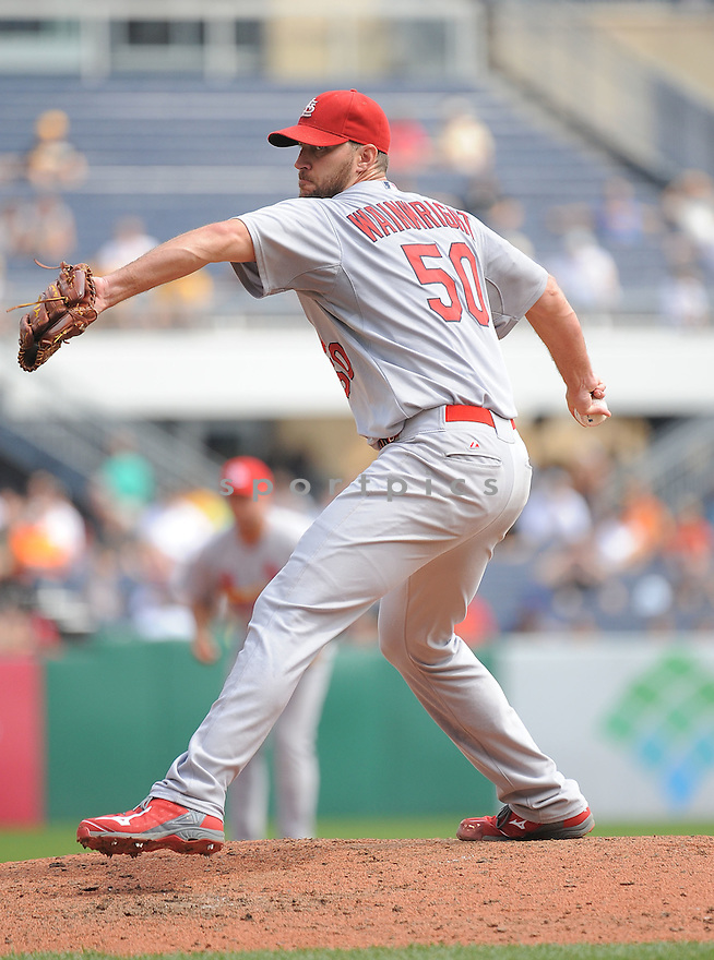 St. Louis Cardinals Adam Wainwright (50) during a game against the Pittsburgh Pirates on August 27, 2014 at PNC Park in Pittsburgh PA. The Pirates beat the Cardinals 3-1.