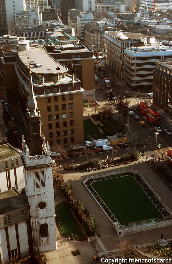 London:  4.  Panoramic view from St. Paul's--looking east on Cannon St.   The Tower of St. Augustine, adjoining the Choir School of St. Paul's.  Photo '90.