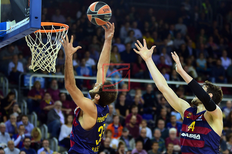 Turkish Airlines Euroleague 2016/2017.<br /> Regular Season - Round 2.<br /> FC Barcelona Lassa vs Fenerbahce Istanbul: 72-73.<br /> Stratos Perperoglu &amp; Ante Tomic.