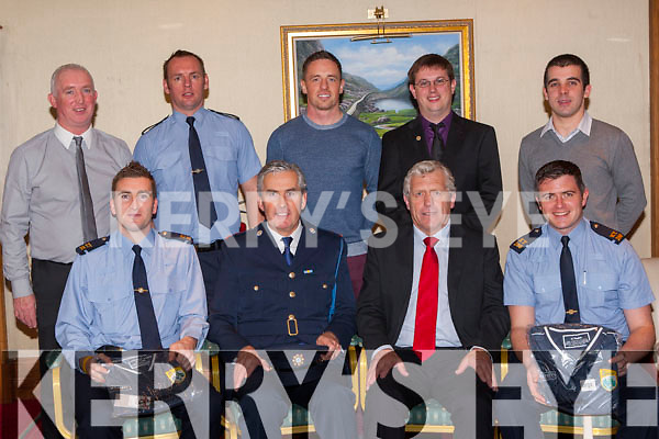 Jerry O'Sullivan vice Chairman of the Munster council made a presentation to Killarney Gardai in recognition for their help in the 'Hurling in the Schools initiative' at the South Kerry hurling awards in the Plaza Hotel on Friday night front row l-r: Mike Milner, Flor Murphy, Jerry O'Sullivan, Jamie Lenihan. Back row: John Lenihan, Brendan McMahon, Anthony Nash, Eoin Casey Chairman and Michael O'Keeffe PRO
