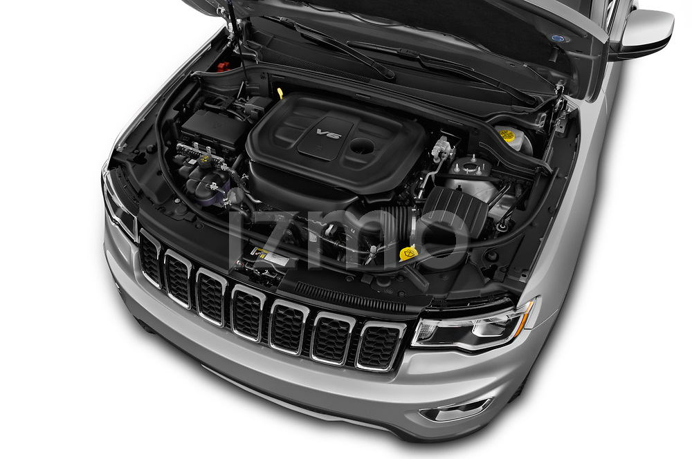 Car Stock 2017 JEEP Grand-Cherokee Limited 5 Door SUV Engine  high angle detail view