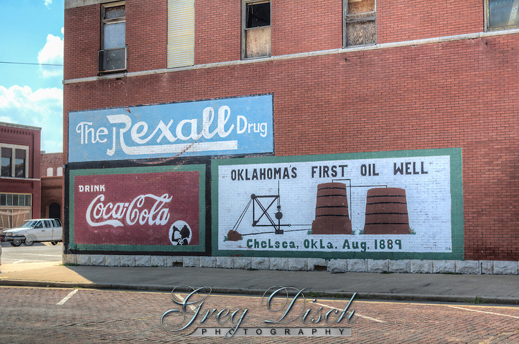 Oklahoma's First Oil Well Mural in Chelsea Oklahoma on Route 66.