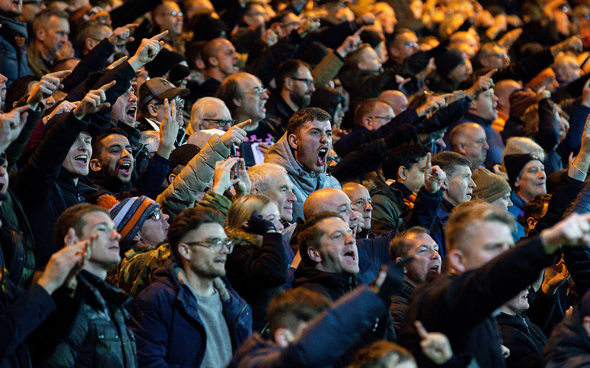 Luton Town fans celebrate when their side equalises<br /> <br /> Photographer Alex Dodd/CameraSport<br /> <br /> The EFL Sky Bet Championship - 191123 Luton Town v Leeds United - Saturday 23rd November 2019 - Kenilworth Road - Luton<br /> <br /> World Copyright © 2019 CameraSport. All rights reserved. 43 Linden Ave. Countesthorpe. Leicester. England. LE8 5PG - Tel: +44 (0) 116 277 4147 - admin@camerasport.com - www.camerasport.com