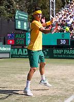 Royal Sydney Golf Club, Sydney, Australia v Switzerland Davis Cup 18/09/2011.Bernard Tomic (AUS) against Roger Federer (SUI) in the Fourth Rubber.Photo:  Frey Fotosports International / AMN Images