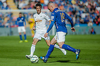 LEICESTER, ENGLAND - APRIL 18:Jack Cork of Swansea City in action during the Premier League match between Leicester City and Swansea City at The King Power Stadium on April 18, 2015 in Leicester, England.  (Photo by Athena Pictures/Getty Images)
