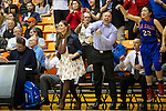 Mar 11, 2015; Portland, OR, USA;  The La Salle Prep bench celebrates after a basket is scored against the Hermiston Bulldogs late in the fourth quarter in the 5A Girls Basketball State Championship at Gill Coliseum.<br /> Photo by Jaime Valdez
