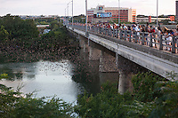 The Ann W. Richards Congress Avenue bridge in downtown Austin is the spring and summer home to some 750000 bats with up to 1.5 million bats at the peak of the season.