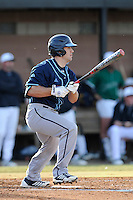 Left fielder Drew DeKerlegand (1) of the Citadel in a game against the University of South Carolina Upstate Spartans on Tuesday, February, 18, 2014, at Cleveland S. Harley Park in Spartanburg, South Carolina. Upstate won, 6-2. (Tom Priddy/Four Seam Images)