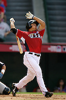 Hank Conger of the Los Angeles Angels organization participates in the Futures Game at Angel Stadium in Anaheim,California on July 11, 2010. Photo by Larry Goren/Four Seam Images